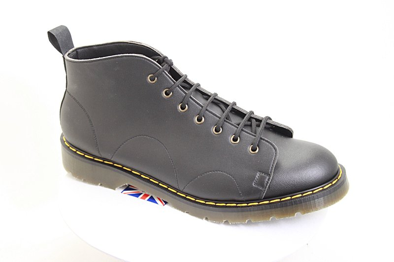 Mens or womens vegan monkey boots, british made, with black microfibre tops sewn to thick Tredair soles