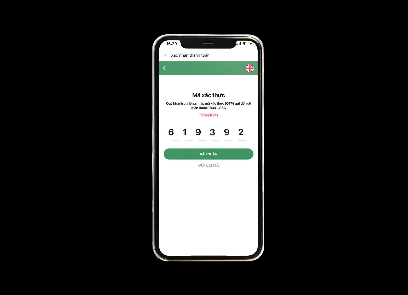 Nhập mã OTP mua vé số Vietlott online