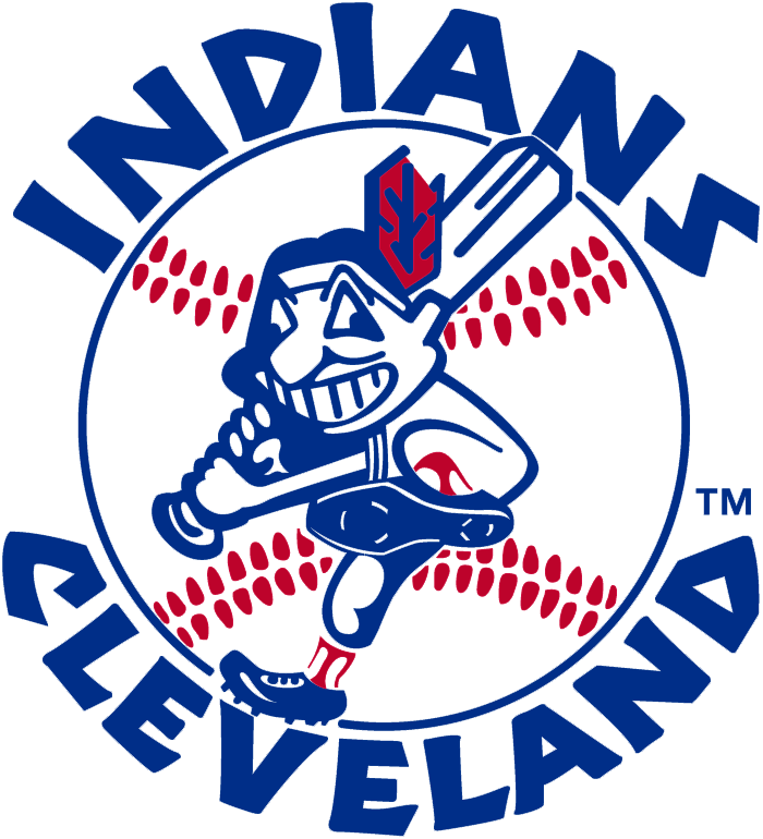 Red, white and blue Chief Wahoo logo