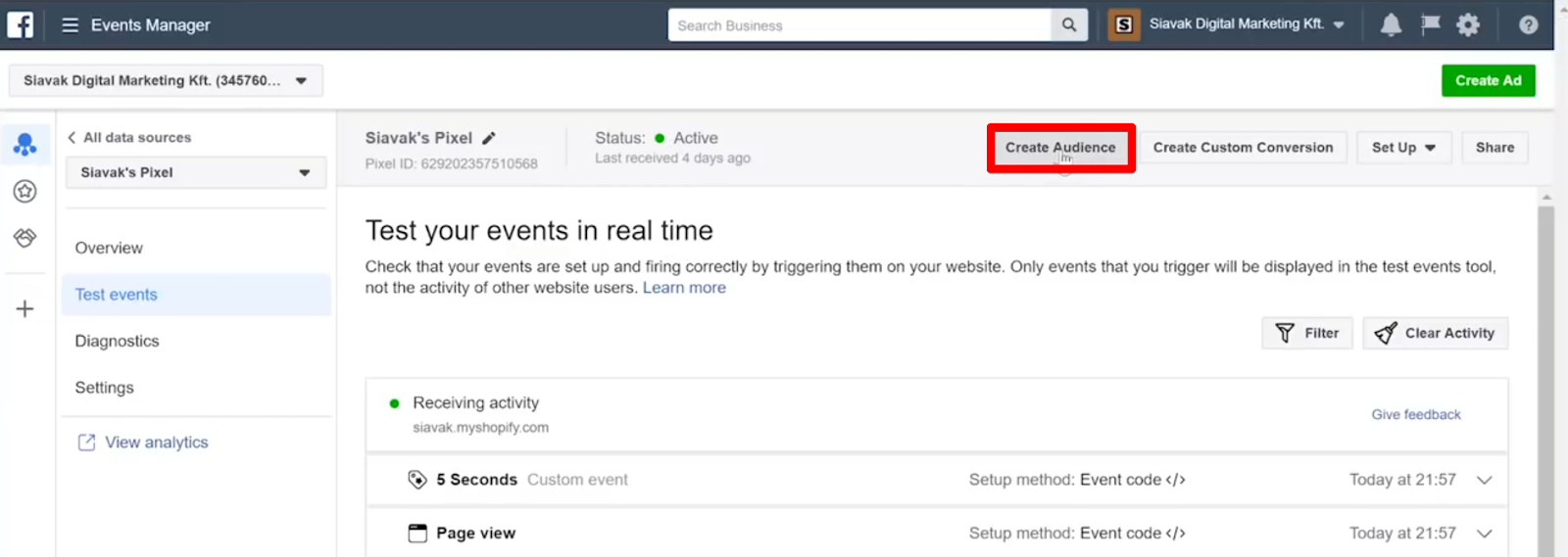 Create an audience in your Facebook Pixel by clicking Create Audience