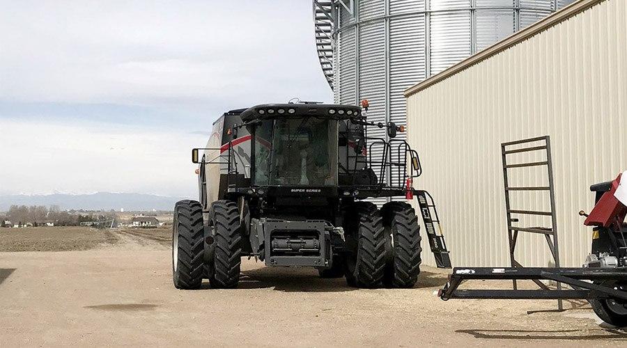 tractor combine hemp farm
