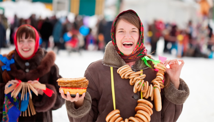 Russian folk festival of pancakes in early spring