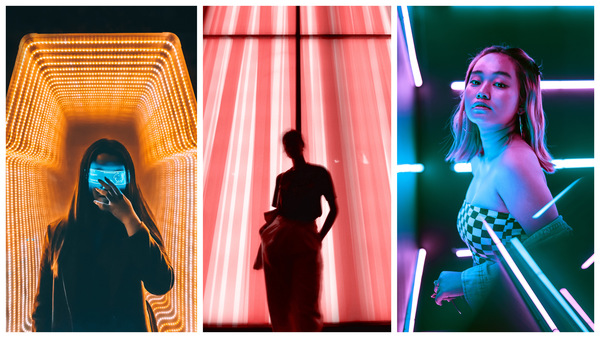 fotos neon com televisão