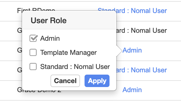 Collavate template manader role setting