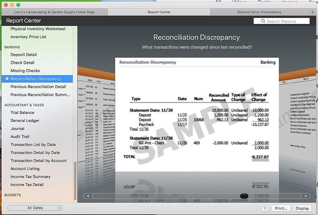 Bank Credit Card Reconcile Discrepancy Report