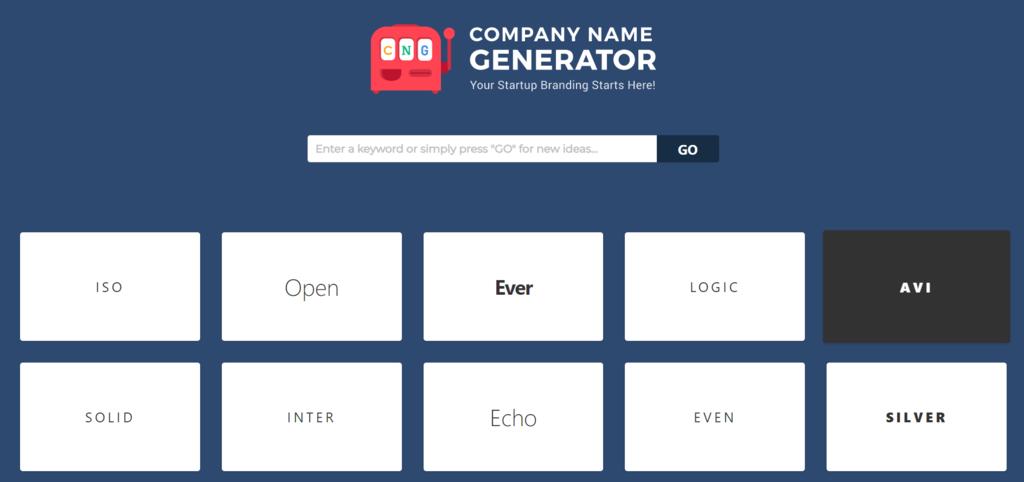 página inicial do company name generator