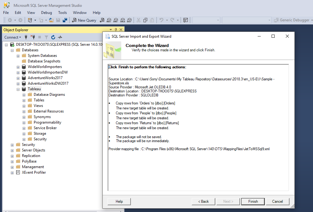 Load Sample Super Store Excel Data into Microsoft Sql Server to Analyze with Tableau 35