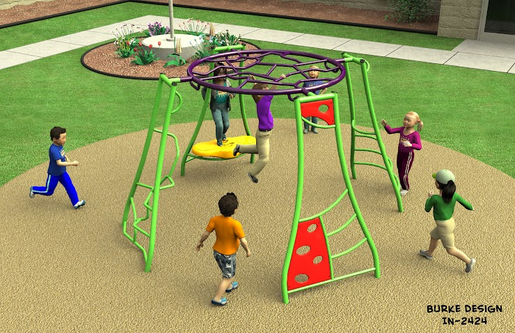 This piece of equipment provides variable play for 1-12 children aged, 5-12. The major advantages to the Intensity 2424 is that it provides endless options for children to swing and climb between different play options. The only disadvantage is that it does not provide as much variation in play as the IKO-S.    The full installation price is $12,808.11.