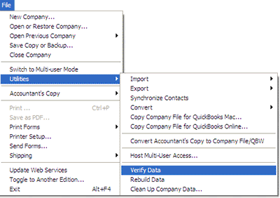 In the QuickBooks QBB restore failed, go to the QuickBooks file menu then utilities and check the data file