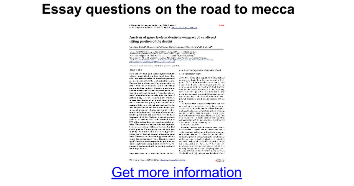 essay questions on the road to mecca google docs