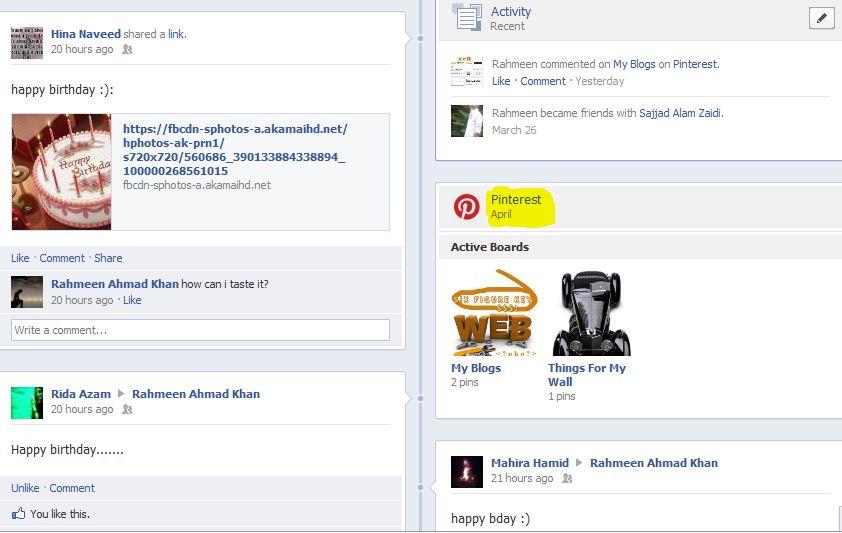 linking facebook to pinterest