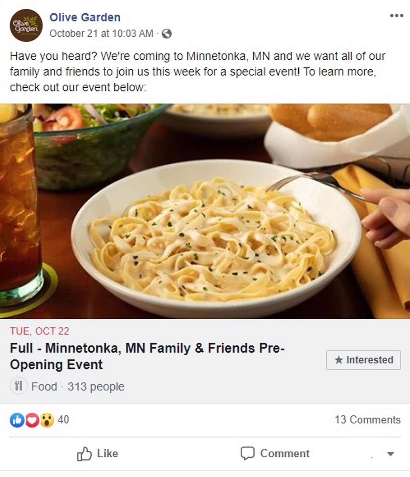 Olive Garden facebook page example