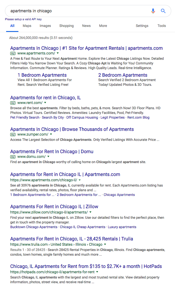 apartment seo results
