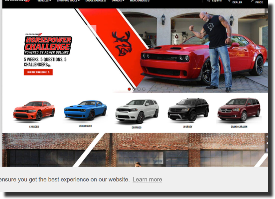 Dodge car dealership website design