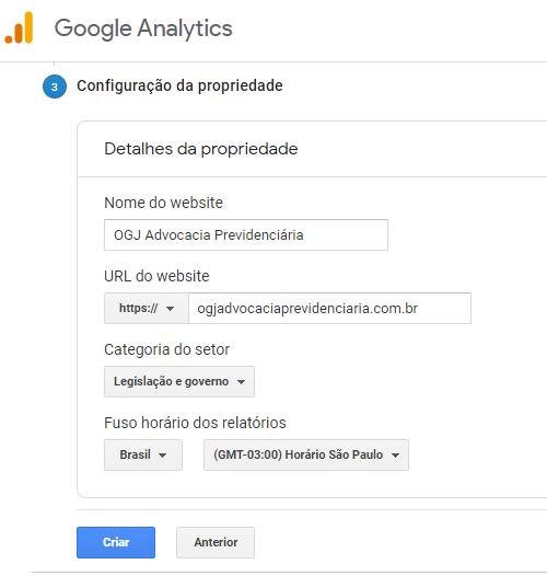 Coniguraão da propriedade deo Google Analytics