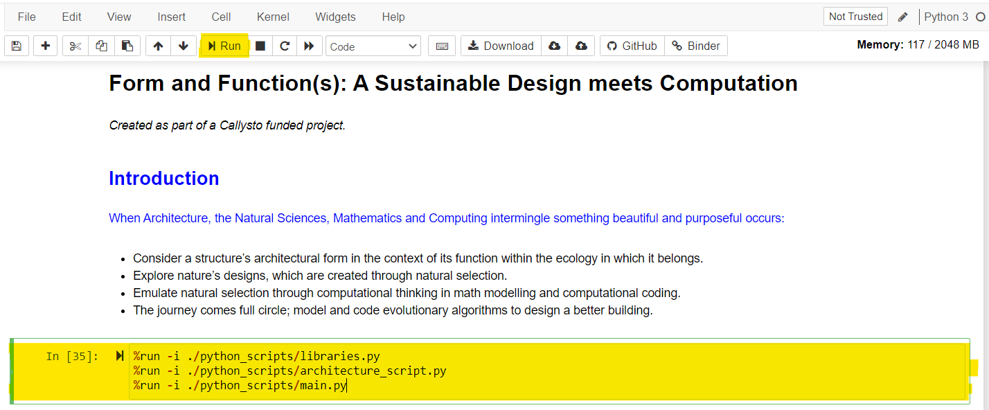 Screen shot of Jupyter notebook, setting up the coding environment