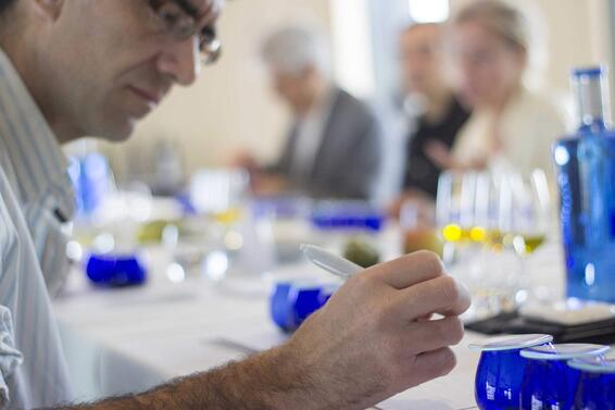 Sommelier tasting EVOO during ESAO sesion