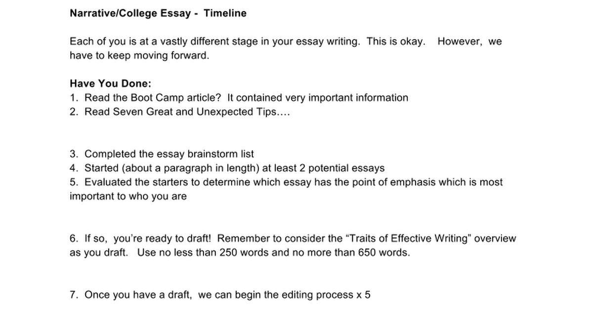 college narrative essays The elements of a good narrative essay essays are non-fiction writings and narrative essays are an account of read.