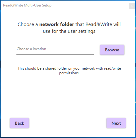 Network folder location