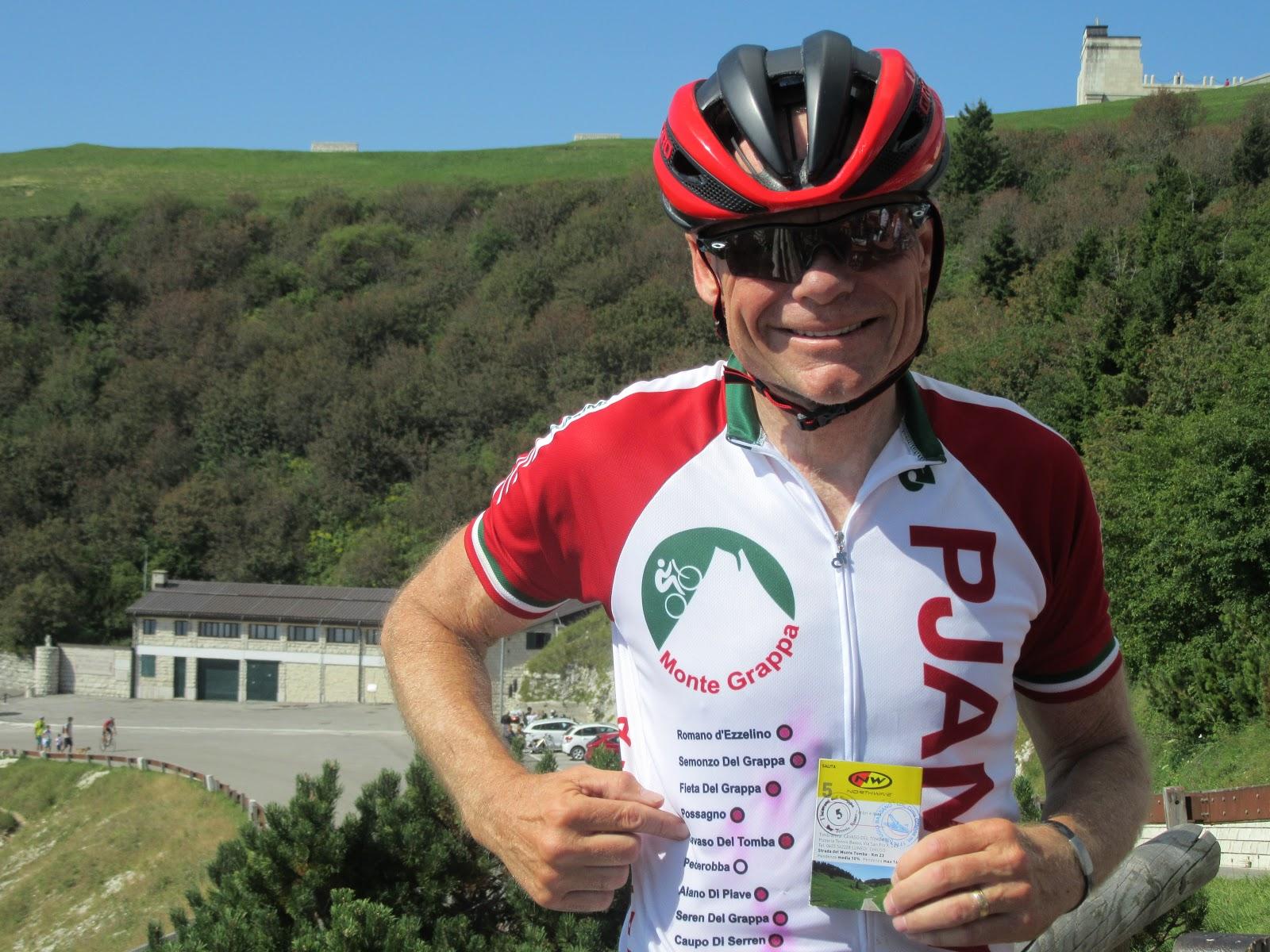 Cycling Monte Grappa - Cavaso del Tomba - John Johnson PJAMM cycling with monte grappa jersey