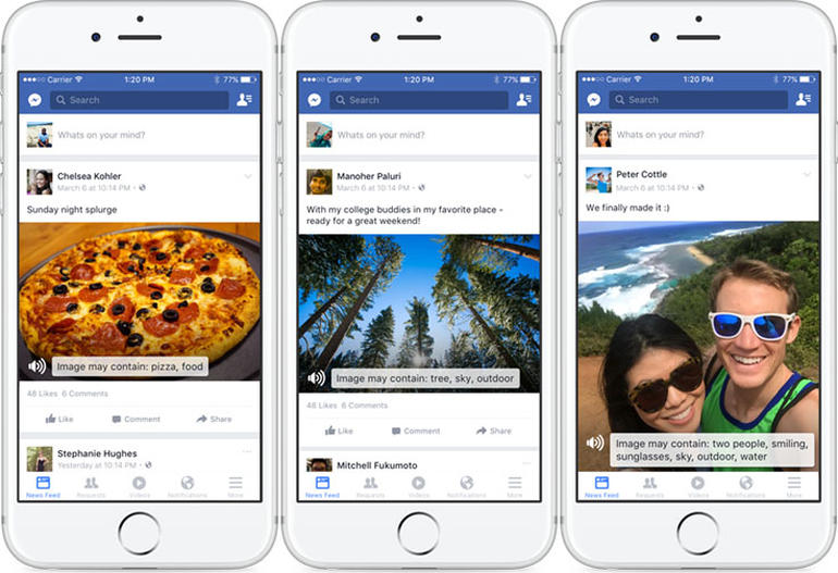 Examples of Facebook's automatic alt-text feature, where the AI recognizes objects in the images such as pizza, tree, sky, people, smiling, outdoor and more.