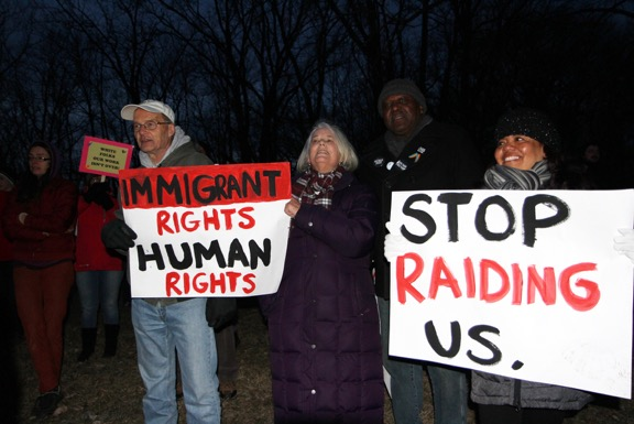 Picture: Rally to support Dolores and Jose in Rochester - Dolores is standing on the right corner. 3/9/17
