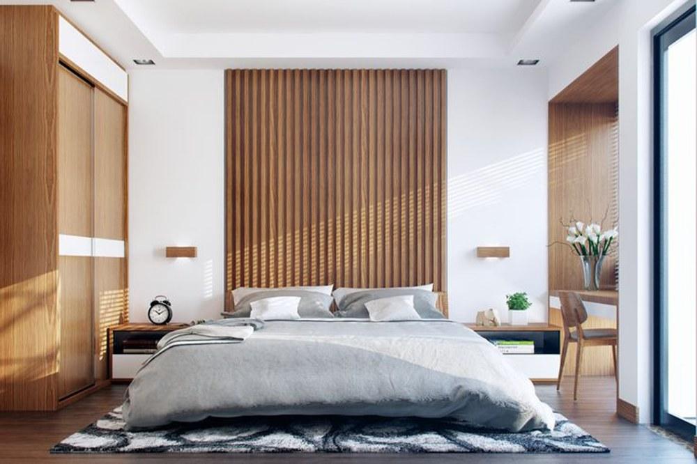 Nội thất phòng ngủ bố mẹ trong bản vẽ thiết kế nhà ống 3 tầng