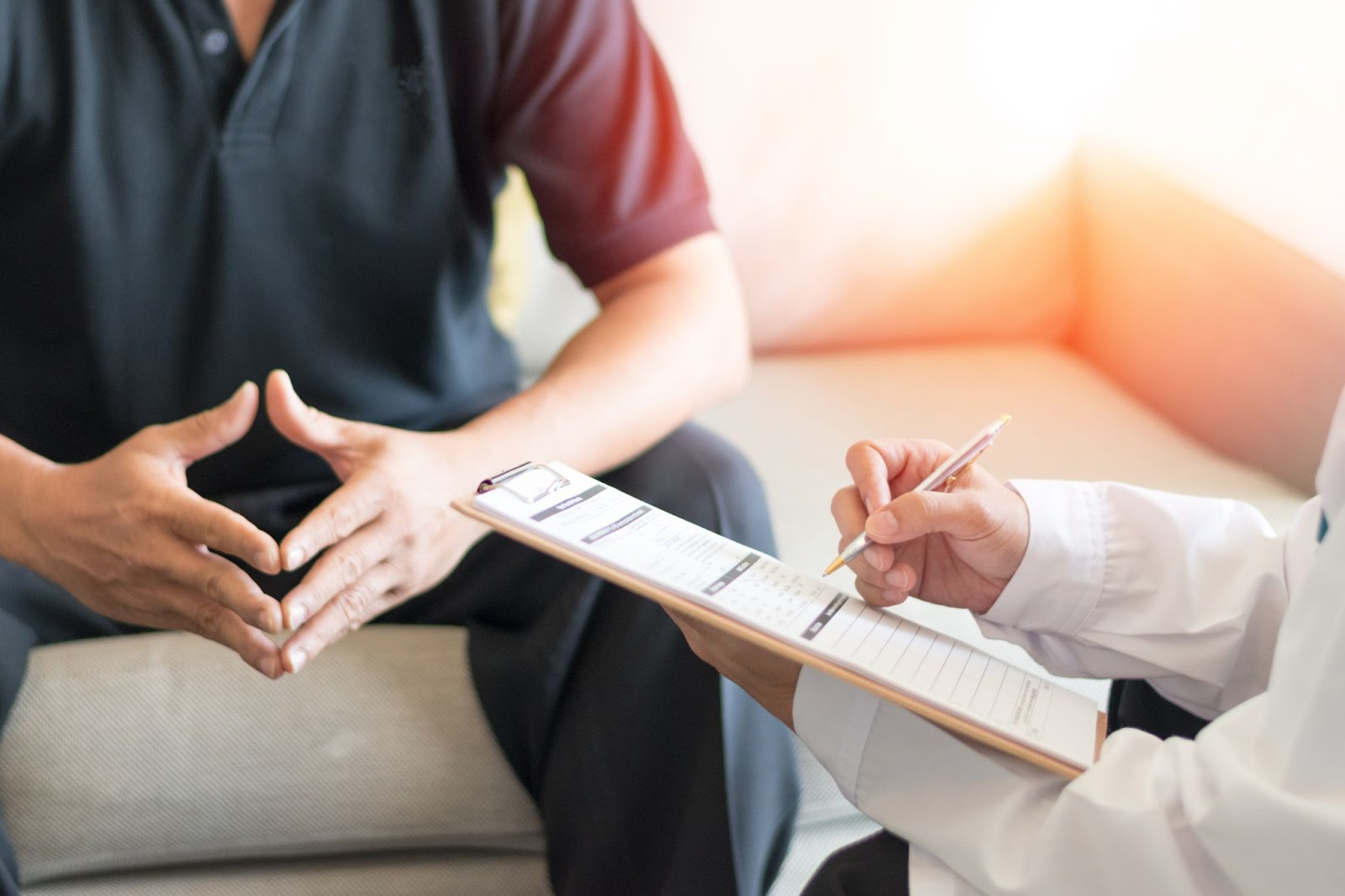 patient speaking with psychologist
