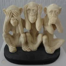 A.Santini 3 Monkeys Classic Figure Sculpture - See, Hear & Speak ...