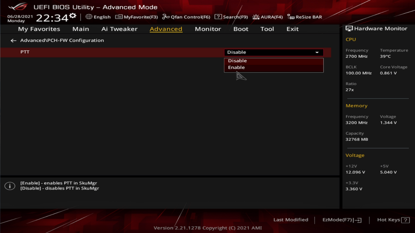 How to enable TPM on Asus Motherboard Intel CPU
