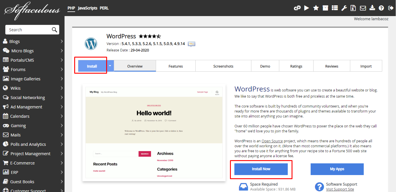 Click the install button to install WordPress