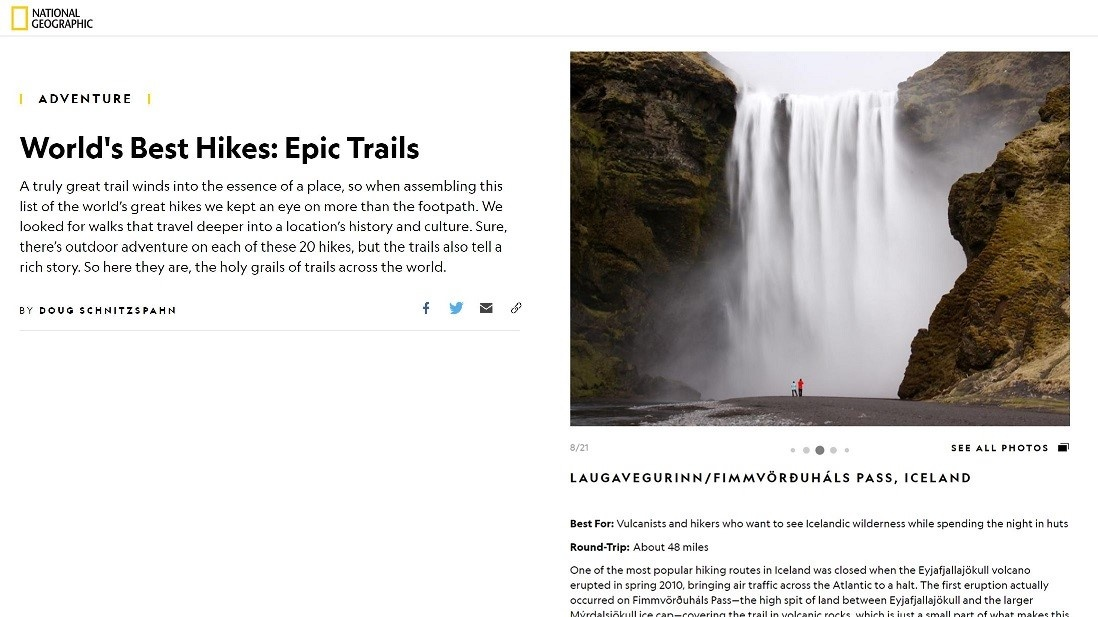 screenshot from National Geographics website on best hiking trails