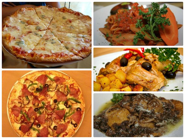 Ai 5- Formaggi, pizza cappriciossa, pasta marinara, pollo ala cacciatorra, and ravioli tartufo