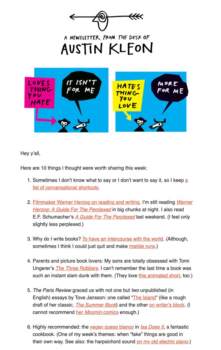 Example of Austin Kleon email newsletter.