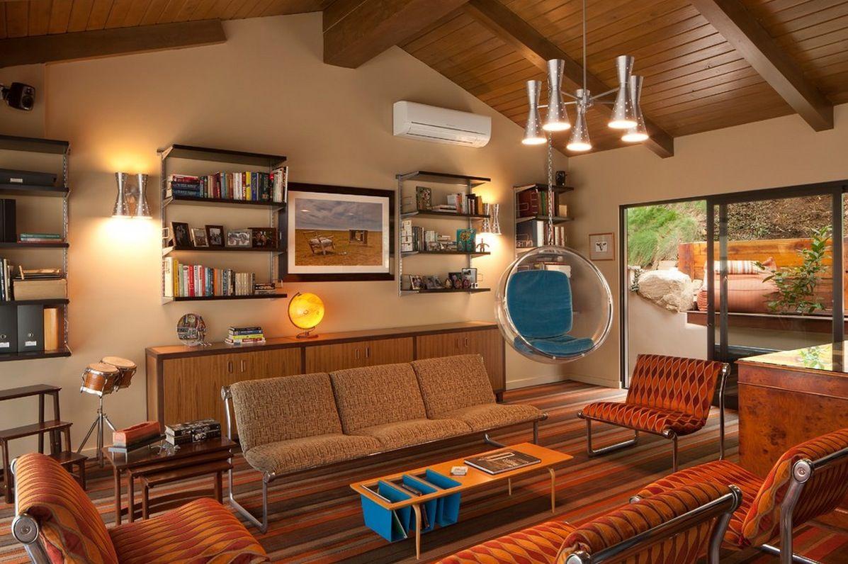 Không gian phòng khách phòng cách retro từ màu sắc tới nội thất