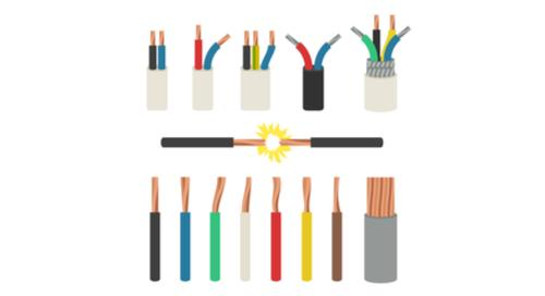 Assorted colored and different width wiring traces