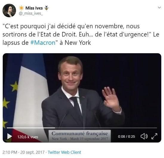 Macron lapsus j'ai décidé qu'en novembre nous sortirons de l'Etat de droit