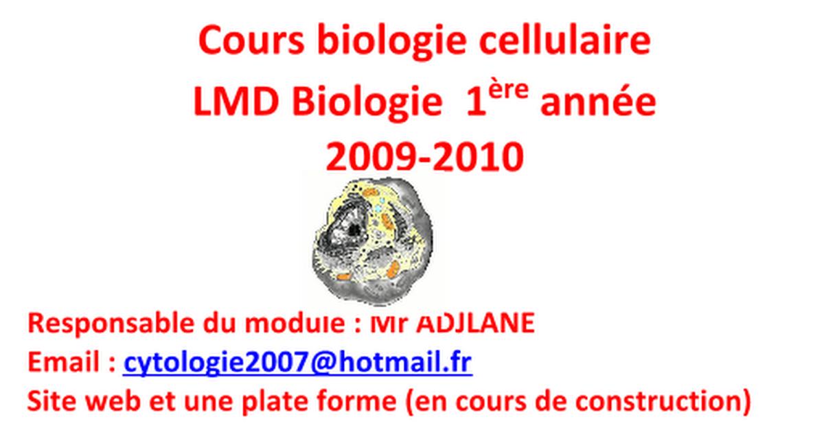 cours biologie cellulaire biologie 1232re ann233e wwwespace