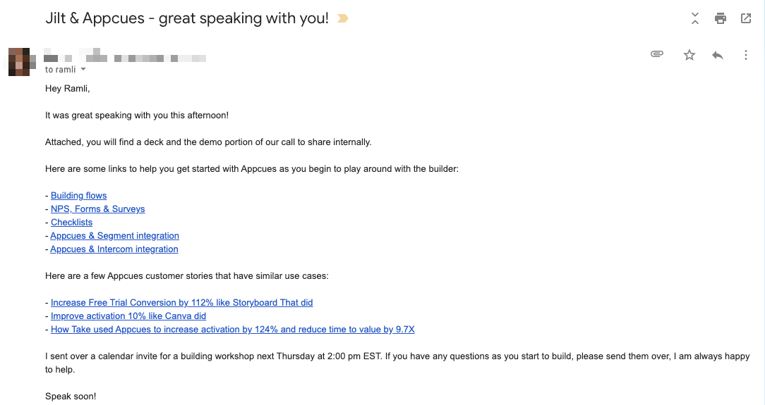 Appcues' support email