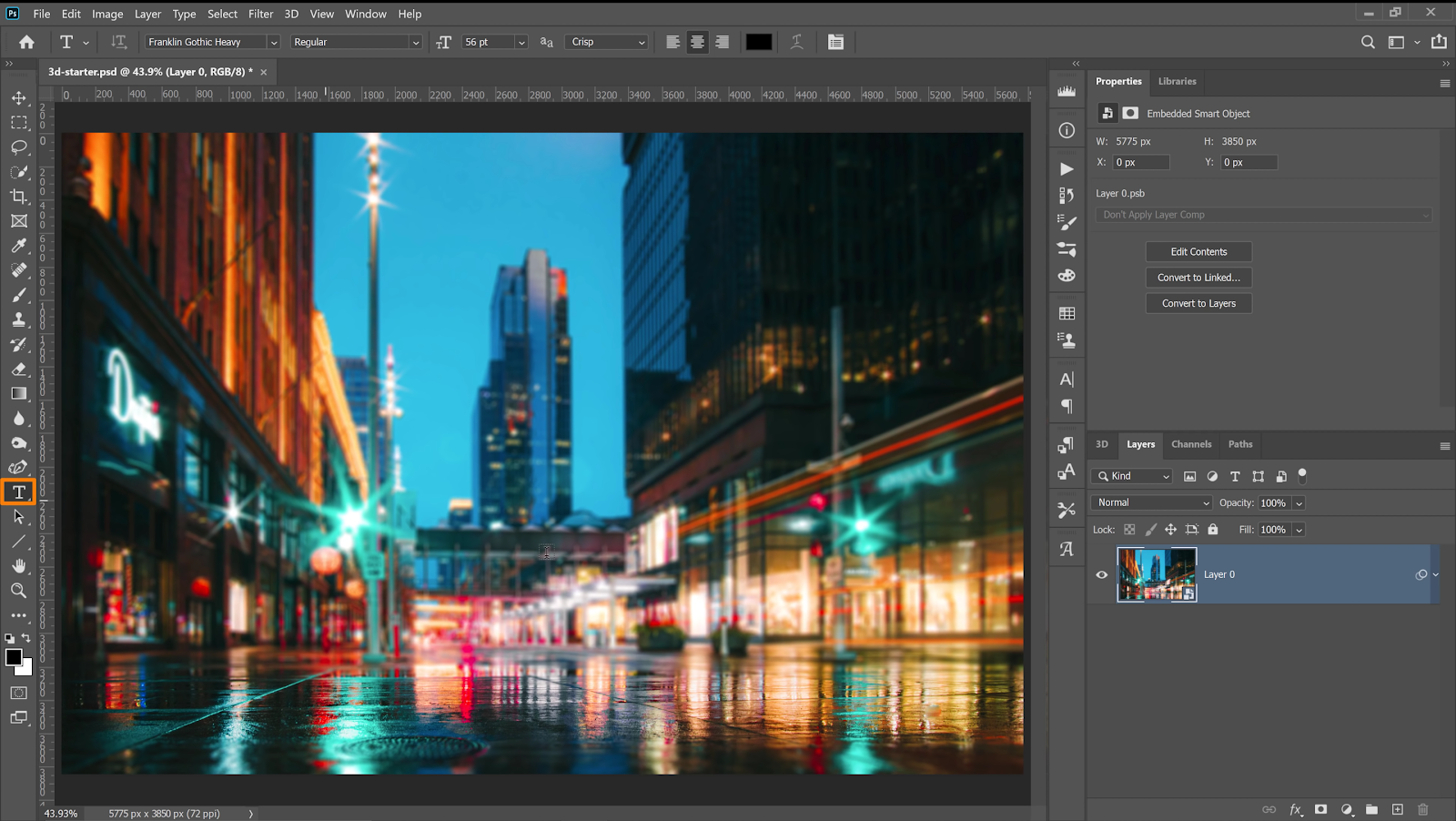 Use the Type tool to add text to your image and scale the text size so that the 3D effects display on a larger canvas