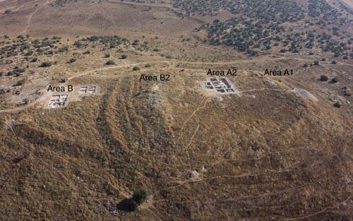 Aerial view showing the locations of the excavated areas