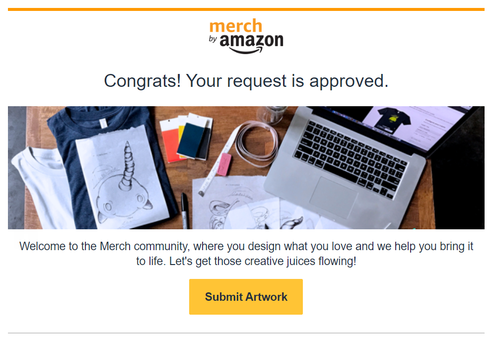 merch by amazon - request approved