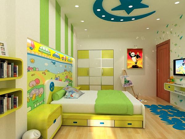 Thiết kế phòng ngủ bé trai đẹp với hình khối