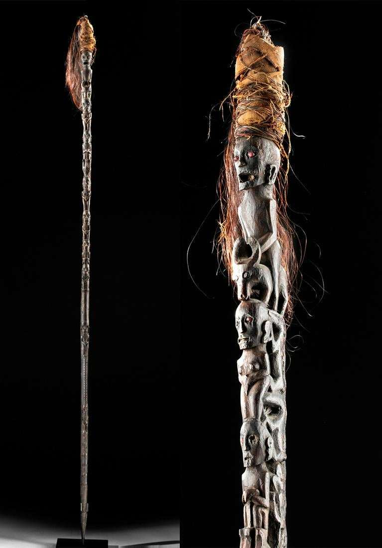 19th C. Indonesian Wood Shaman Staff w/ Horse Hair