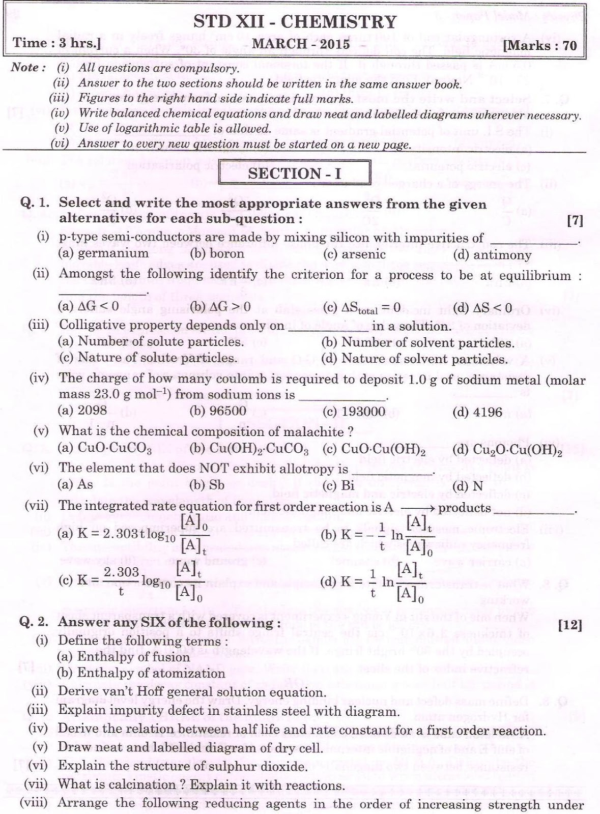 CHEMISTRY – MARCH 2015 HSC MAHARASHTRA BOARD QUESTION PAPER