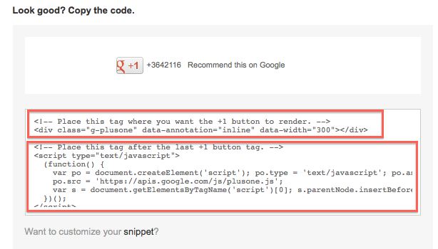 google plus html code result
