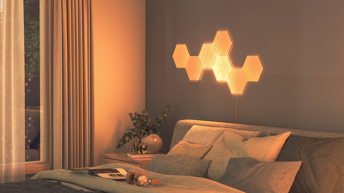 Nanoleaf Elements Light Panels warm white lighting temperature in bedroom at night for better sleep