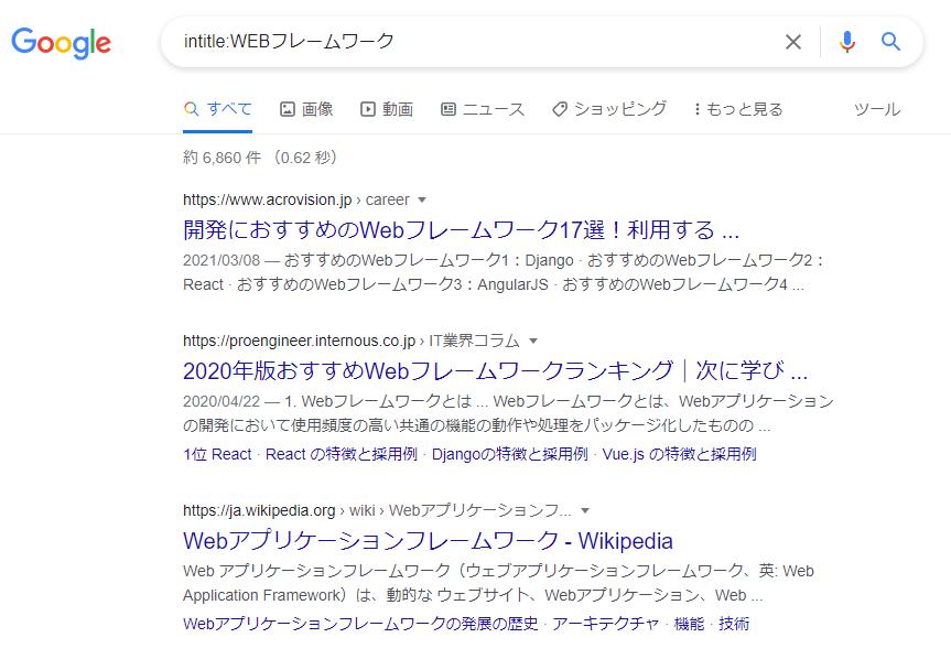 intitle:を用いた検索結果