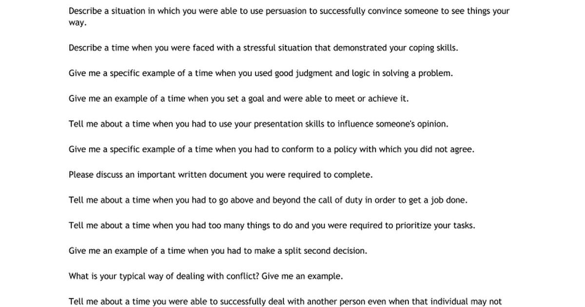 behavioral interview questions google docs