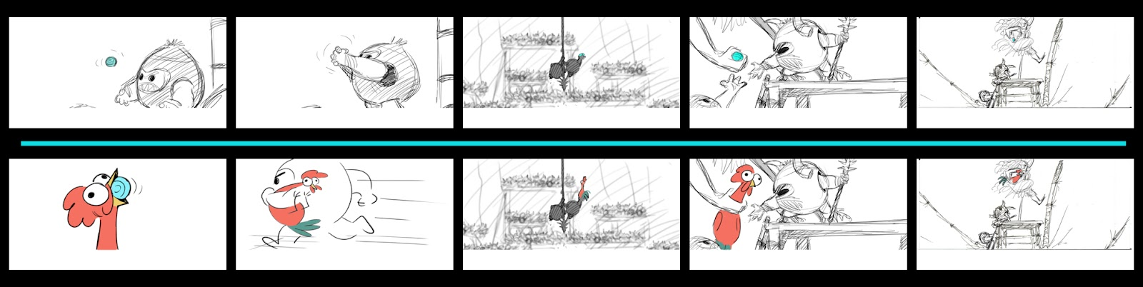 A storyboard that illustrates an action sequence from the film Moana, in which the Kakamora are trying to steal the Heart of Te Fiti.